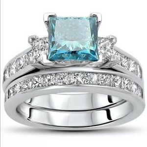 Blue sapphire engagement bridal ring set 2 pc